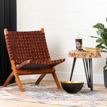 Woven Leather Lounge Chair - Auburn