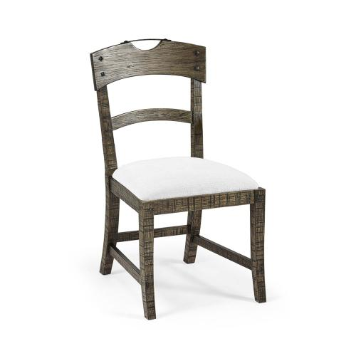 Planked Dark Driftwood Dining Side Chair, Upholstered in COM