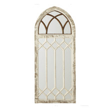 Distressed Arch Wall Mirror with Window Frame Overlay