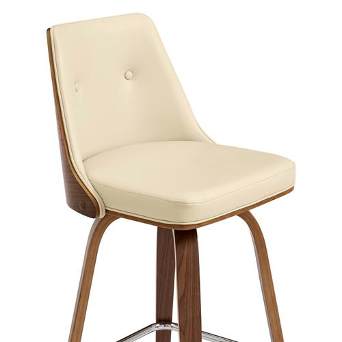 """Armen Living - Nolte 30"""" Swivel Bar Stool in Cream Faux Leather and Walnut Wood"""