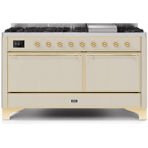Majestic II 60 Inch Dual Fuel Natural Gas Freestanding Range in Antique White with Brass Trim