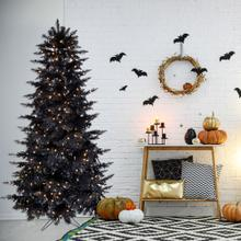 Haunted Hill Farm 6.5-Ft. Spooky Black PVC Tree with Warm White LED Lighting, HH065PVCTREE-5BLK