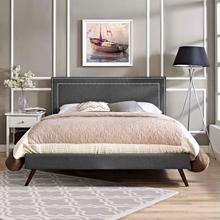 View Product - Virginia King Fabric Platform Bed with Round Splayed Legs in Gray