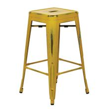 """See Details - Bristow 26"""" Antique Metal Barstools, Antique Yellow With Blue Specks, 2-pack"""