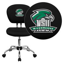Northeastern State University Riverhawks Embroidered Black Mesh Task Chair with Chrome Base