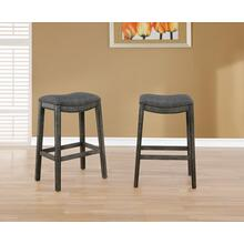Maroni Faric Upholstery Nailheaded Saddle Barstool in Gray, Set of 2