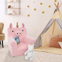 Critter Sitters 20-In. Plush Pink Unicorn Animal Shaped Mini Chair - Furniture for Nursery, Bedroom, Playroom, and Living Room Decor, CSUNICHR-PNK
