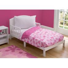Girls 4-Piece Toddler Bedding Set - Floral and Polka Dot (2000)