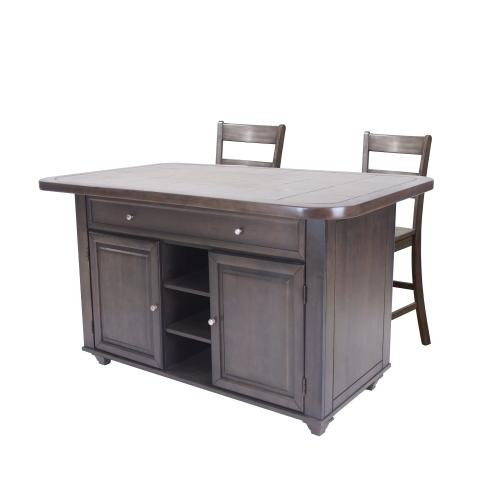 Kitchen Island Set - Antique Gray with Grey Tile Top (3 Piece)