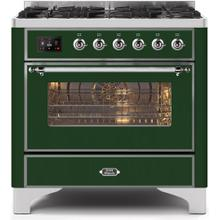 Majestic II 36 Inch Dual Fuel Natural Gas Freestanding Range in Emerald Green with Chrome Trim