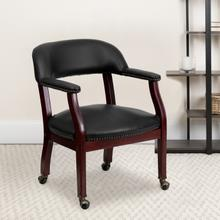 View Product - Black Vinyl Luxurious Conference Chair with Accent Nail Trim and Casters