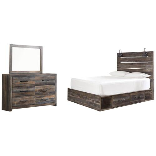 Queen Panel Bed With 4 Storage Drawers With Mirrored Dresser