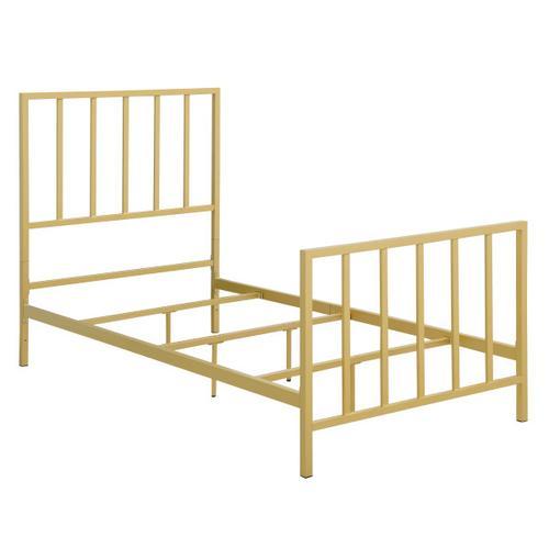 Metallic Gold Slat Twin Metal Bed