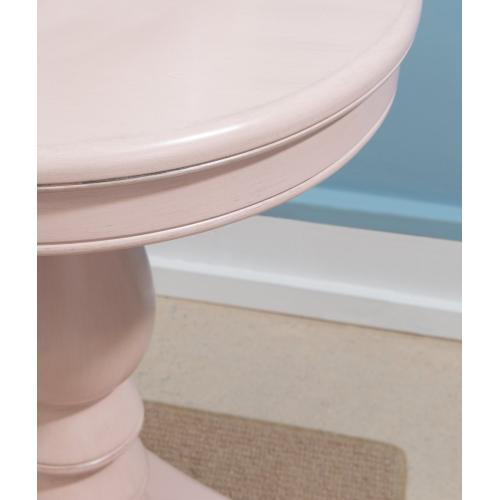 Pedestal and Triangular Base Accent Side Table, Pink