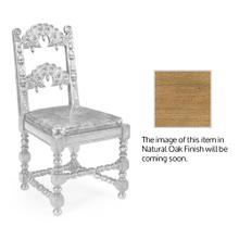 Elizabethan Style Natural Oak Side Chair Open Back for Antique Caviar Black Leather