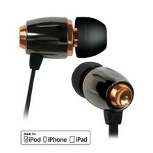 See Details - Black Chrome and Copper in-ear stereo headphones by Bell'O Digital with Apple® remote and slim protective case