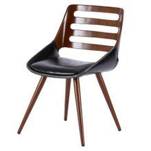 Shelton KD PU Bamboo Dining Side Chair, Black/Walnut