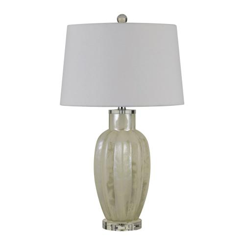 Rovigo Glass Table Lamp With Hardback Fabric Shade (Sold And Priced As Pairs)