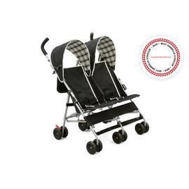 DX Side x Side Stroller - Black/Plaid (007)