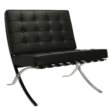 Barcelona Chair - Full Genuine Italian Leather - Reproduction - Black