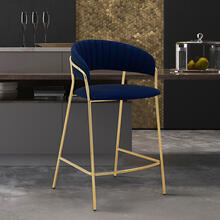 "Nara 26"" Modern Counter Height Bar Stool with Gold Metal Finish and Blue Faux Leather"