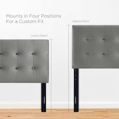 Modway - Emily Queen Biscuit Tufted Performance Velvet Headboard in Gray