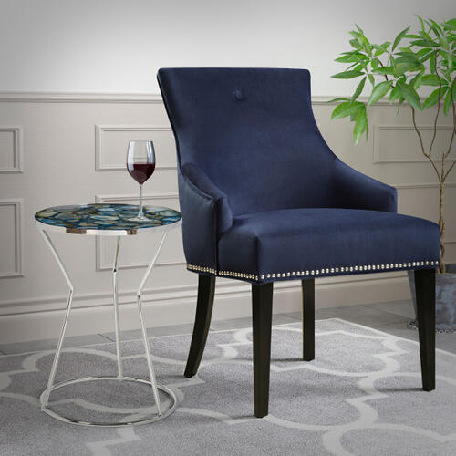 Nailhead Trimmed Upholstered Dining Chair in Navy Blue