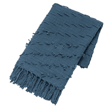Blue Diagonal Fringe Slub Woven Throw