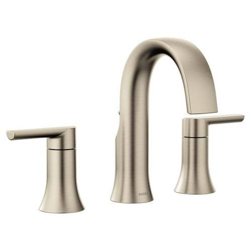 Doux brushed nickel two-handle bathroom faucet