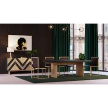Modrest Perret - Glam Black Ash & Brass Gold Dining Table