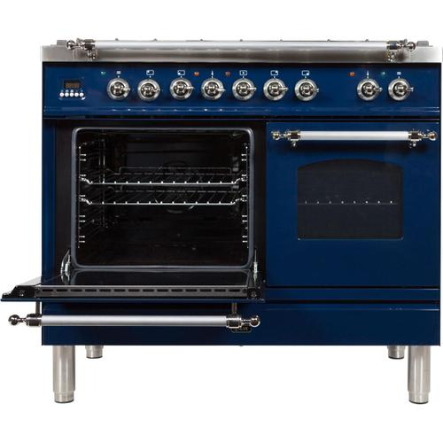 Nostalgie 40 Inch Dual Fuel Natural Gas Freestanding Range in Blue with Chrome Trim
