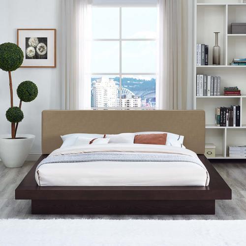 Modway - Freja Queen Fabric Platform Bed in Cappuccino Latte