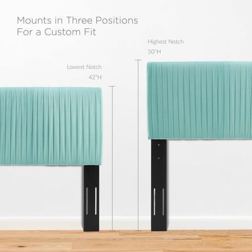 Eloise Channel Tufted Performance Velvet Twin Headboard in Mint