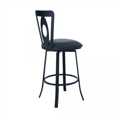 """Lola Contemporary 26"""" Counter Height Barstool in Matte Black Finish and Grey Faux Leather"""
