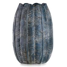See Details - BORDINI BLUE  10in w X 15in ht X 10in d  Dark Blue Leaf Design Artative Eco Paper Vase