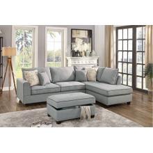 Navin 3pc Sectional Sofa Set, Lt Grey Dorris Fabric