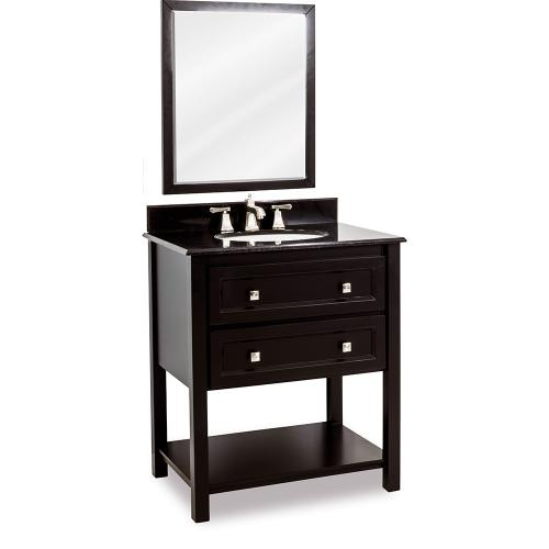 """31-1/2"""" vanity with Black finish, clean lines, and complementary satin nickel hardware with preassembled top and bowl."""