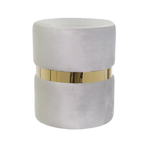 Velvet Ottoman W/ Gold Belt, Gray
