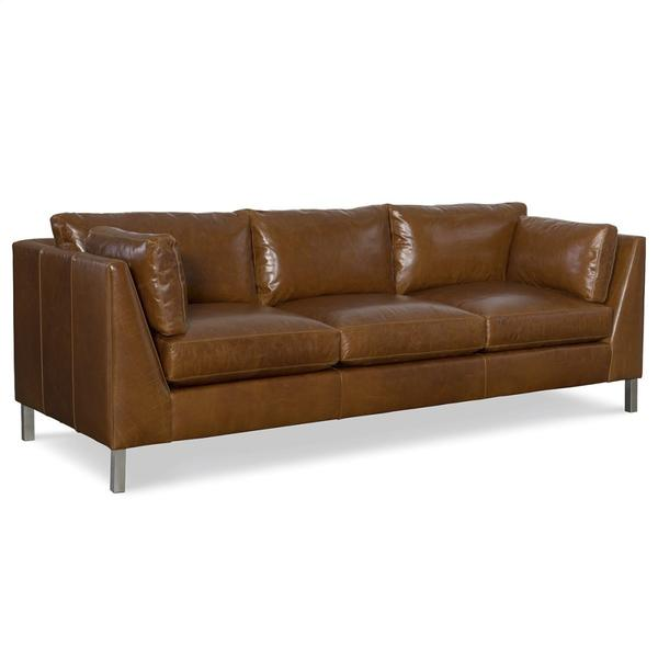 Leather Long Sofa with Nickel Metal Leg