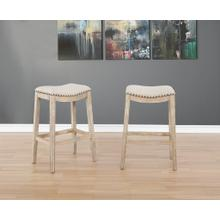 Maroni Whitewash Finish Faric Upholstery Nailheaded Saddle Barstool in Tan, Set of 2