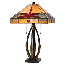 60W x 2 Tiffany table lamp with pull chain switch and metal and resin lamp body