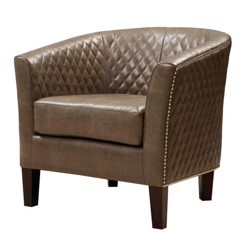 Upholstered Quiltback Barrel Accent Chair in Mink Brown