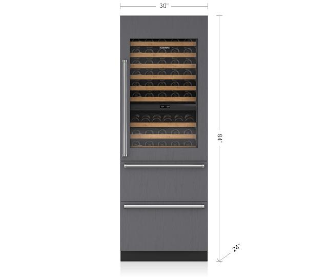 "Subzero30"" Designer Wine Storage With Refrigerator/freezer Drawers - Panel Ready"