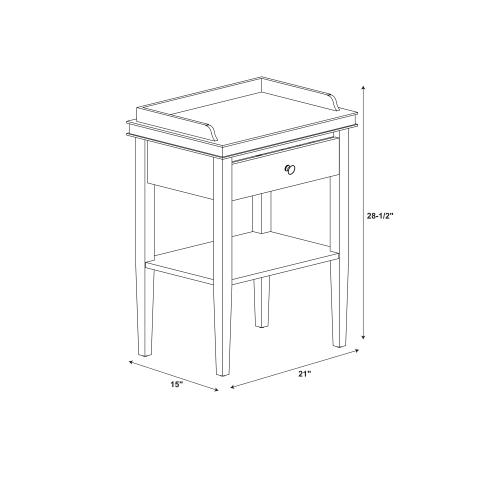 1-drawer and 1 Bottom Shelf Accent Table, Black
