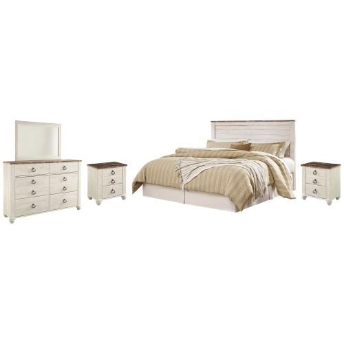 Gallery - King/california King Panel Headboard With Mirrored Dresser and 2 Nightstands