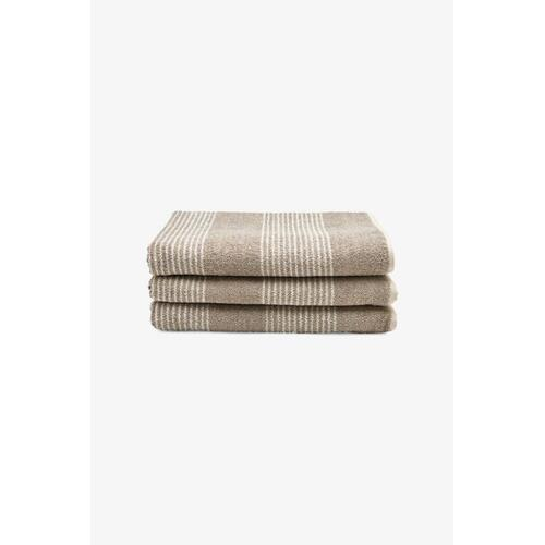 Tasha Bath Towel Linen with Cream Stripes