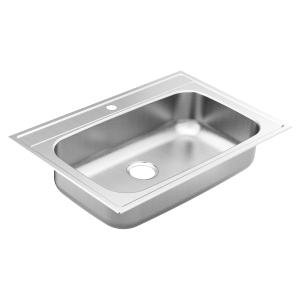"1800 Series 33""x22"" stainless steel 18 gauge single bowl drop in sink Product Image"