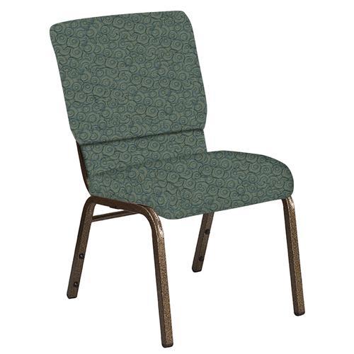 Flash Furniture - 18.5''W Church Chair in Martini Smokey Fabric - Gold Vein Frame