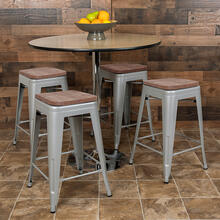 "24"" High Metal Counter-Height, Indoor Bar Stool with Wood Seat in Silver - Stackable Set of 4"