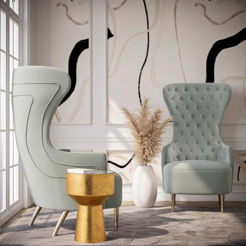 Jezebel Grey Velvet Wingback Chair by Inspire Me! Home Decor